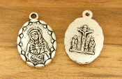 "Seven Sorrows Lady of Sorrows Antique silver-finish medal 1"" small Charm -Inexpensive Catholic medals"