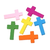 "100/Pkg Crosses Wood Mixed Colors 1 11/16"" x 1"" Pendant Cross"