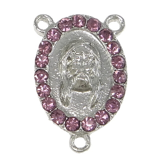 Limited Stock Holy Face of Jesus with 19 Pink Crystal's Silver Finish Rosary Center with Rhinestones Rosary Parts wholesale as low as $1.00 each