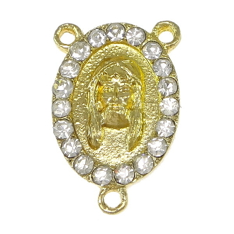 Limited Stock Holy Face of Jesus with 19 Clear Crystal's Gold Finish Rosary Rosary Center with Rhinestones Rosary Parts wholesale as low as $1.00 each