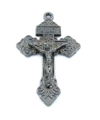 "as low as 98¢ Metallic Silver Gunmetal Finish Pardon Crucifix 2"" INDULGENCE CRUCIFIX Catholic Cross"