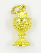 IHS Communion Chalice Pendant Charm Gold Plated 11/16""