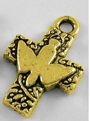 Holy Spirit Cross Deluxe Antique Gold finish 2.0x1.6cm