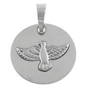 "Holy Spirit Medal Stainless Steel 1 1/8"" Round Silver Finish"