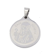 "Large Stainless Steel Saint Benedict medal 1 1/16"" Round- Necklace pendant Wholesale"
