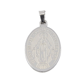 "Large Stainless Steel Blessed Virgin Mary medal 1 1/8""- Necklace pendant Wholesale"