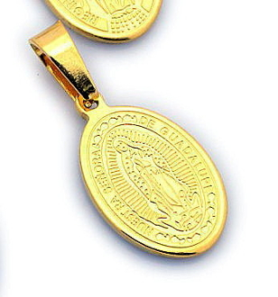 small Small Stainless Steel Our Lady Guadalupe medal 1.7cm Gold Finish- Necklace pendant Wholesale