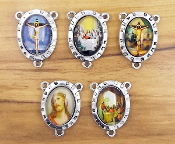 5/Pkg Mixed Last Supper Jesus Crucifix Centerpiece Antique Silver finish Madonna and Child with Full Color Picture Glass Dome. Inexpensive Rosary Centers to make rosaries-Center Rosary parts. parts of a rosary rosary supplies rosary centerpieces