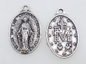 "25/Pc Miraculous medal Silver Oxidized Charm 1"" Ora Pro Nobis-Regina Sine Labe Originali Concepta (OPN) Ora Pro Nobis, or ""Queen Conceived Without Original Sin, Pray for Us- Silver Oxidized Miraculous Medal Medal..."