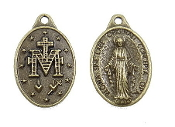 "Miraculous medal Bronze Finish 7/8"" Ora Pro Nobis Italy"