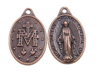 "Miraculous medal Copper Finish 7/8"" Ora Pro Nobis Italy"