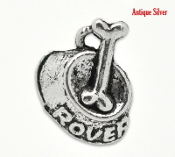 30/Pkg Pet Rover Bone Bowl Charm Antique Silver Finish 2.1cm