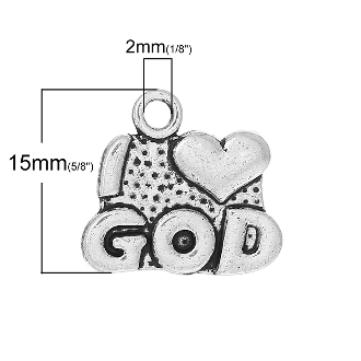 100/Pkg I Love God Charm Antique Silver Finish 1.0x1.5cm