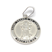 "Stainless Steel Saint Francis medal with Serenity Prayer 1""- Necklace pendant Wholesale pet medals"