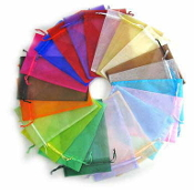 "200/Pkg Organza bags with ribbons 3"" x 4"" Mixed Colors"