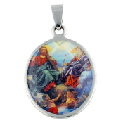 "Stainless Steel Holy Trinity medal 1 1/8"" Color Picture Oval Color Picture Necklace Wholesale"
