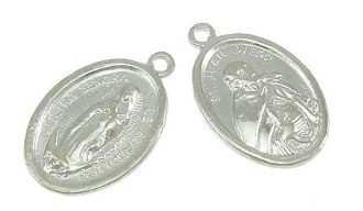 "Lady of Guadalupe and Saint Juan Diego Silver Plated 1"" oval"