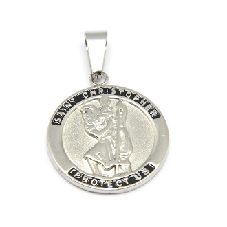 Stainless Steel Saint Christopher medal with Serenity Prayer 1