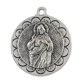 "Large round 1 7/16"" Sacred Heart of Jesus medallion Antique Silver SHJ Medal Silver Antique Finish- Measurement does not include eyelet-Plain back side"