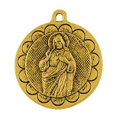 "Large round 1 7/16"" Sacred Heart of Jesus medallion Antique Gold SHJ Medal Antique Gold Finish-Plain back side"