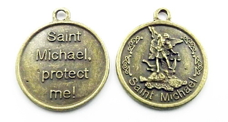 "Large Saint Michael The Archangel Medal Medallion 1 1/8"" Deluxe Bronze Finish"