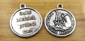 "Saint Michael The Archangel Medal 1 1/8"" Antique Silver Finish"