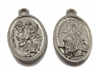 "Gun metal Metallic Silver Finish Saint Michael and Guardian Angel Medal 1"" oval Catholic charm"