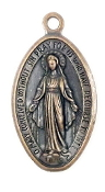 "Extra LARGE Miraculous Medal COPPER Finish 1 5/8"" x 1 1/16""- The Miraculous Medal, also known as the Medal of the Immaculate Conception, is a medal created by Saint Catherine Labouré in response to a request from the Blessed Virgin Mary."