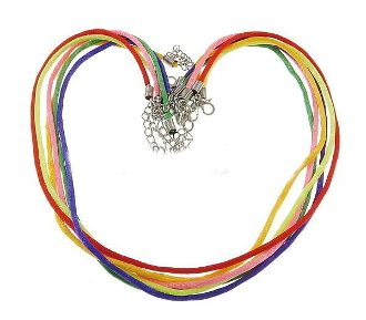 100 chains per package. Fashion Necklace Cord, Nylon cord with 5cm extender chain, mixed colors, 2.5mm, Length:17.5 Inch, 100 chains/Bag, Sold By Bag