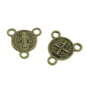 100/Pkg Miniature St Benedict Bronze Finish Rosary Center 1.0cm Rosary Parts wholesale