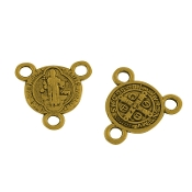 100/Pkg Miniature St Benedict Antique Gold Finish Rosary Center 1.0cm Rosary Parts wholesale
