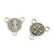 100/Pkg Miniature St Benedict Antique Silver Finish Rosary Center 1.0cm Rosary Parts wholesale