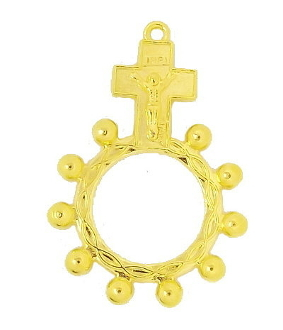 Our Deluxe Catholic Ring Rosaries are known for the most Beautiful intricate designs - Made in Italy.Finger Rosary High Quality Bright Gold finish One Decade Rosary Ring