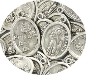 "PRAY FOR US Saint Francis of Assisi medal 1"" oval ANTIQUE SILVER finish- Patron Saint of Pets"