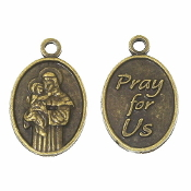 Small Oval Saint Anthony medal Bronze Finish 5/8""