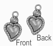 TINY Flaming Heart Sacred Heart Charm Antique Silver 1.8x1.3cm Heart with Flame on top