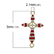 Rosary Junctions Cross Red Gold Finish 2.3x1.8cm {5 pcs per Bag} Enamel finish with Clear Rhinestones Rosary connectors Junction Rosary Junctions Rosary parts