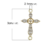 Rosary Junctions Cross White Gold Finish 2.3x1.8cm {5 pcs per Bag} Enamel finish with Clear Rhinestones Rosary connectors Junction Rosary Junctions Rosary parts