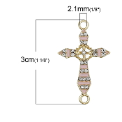 Rosary Junctions Cross Pink Gold Finish 2.3x1.8cm {5 pcs per Bag} Enamel finish with Clear Rhinestones Rosary connectors Junction Rosary Junctions Rosary parts