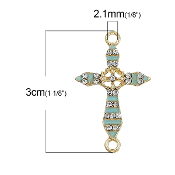 Rosary Junctions Cross Mint Green Gold Finish 2.3x1.8cm {5 pcs per Bag} Enamel finish with Clear Rhinestones Rosary connectors Junction Rosary Junctions Rosary parts