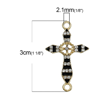Junctions Cross Black Gold Finish 2.3x1.8cm Enamel finish with Clear Rhinestones Rosary connectors Junction Rosary Junctions Rosary parts