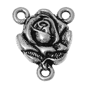 30/PKG Rose Rosary Center Parts Antique Silver Finish 1.5cm wholesale rosary parts and supplies