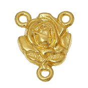 30/PKG Rose Rosary Center Parts-Supplies Gold Plated 1.5cm- wholesale rosary parts and supplies