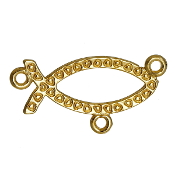 Fish shaped Rosary Center Parts Gold Finish 1.8cm-wholesale rosary parts and supplies
