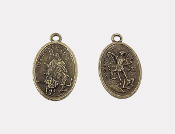 "As Low As $0.49 Each BRONZE St Michael/Guardian Angel Medal oval 1"" Saint Michael Medals wholesale"