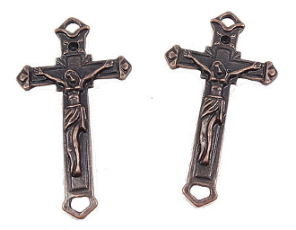 "Connector Crucifixes Copper Finish 2 1/4 x 1 1/4"" Top and Bottom"