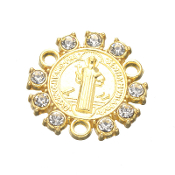 "Limited Stock St Benedict Rosary Center Parts 9 Crystal's Gold Finish 3/4"" Rosary Rosary Center with Rhinestones Rosary Parts wholesale"
