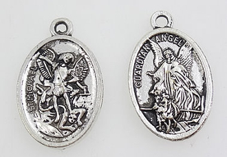 "As Low As 35¢ Each St Michael and Guardian Angel Medal Antique Silver oval 1"" Italy"