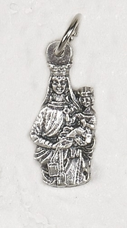 TINY Lady of Mount Carmel medals Silver Pendant 1.7cm