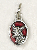 "BRACELET PARTS Catholic medals Tiny Oval Saint Michael medal Charm 1/2"" RED Enameled"